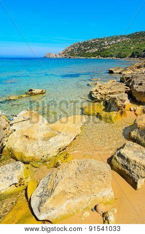 Yellow Rocks In Capo Testa