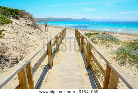 Boardwalk To The Beach In Capo Testa