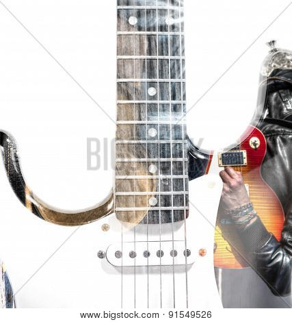 Guitar Player With An Open Guitar Case And Guitar Silhouette In Double Exposure