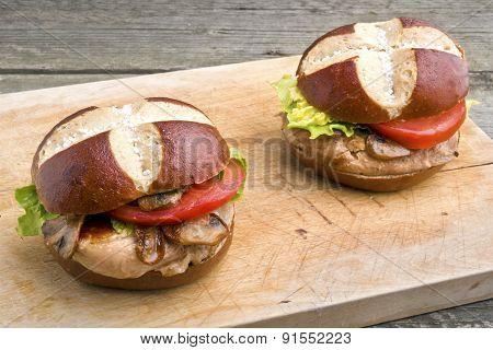 Grilled Pork Steak Sandwich (burger) With Mushrooms