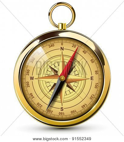 Old compass with windrose. Vector Illustration.