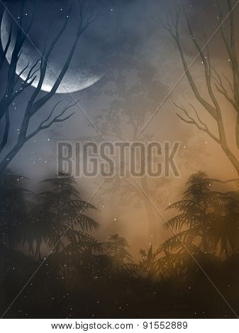 Fantasy landscape in the forest with big moon poster