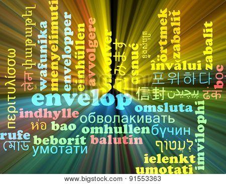 Background concept wordcloud multilanguage international many language illustration of envelop glowing light