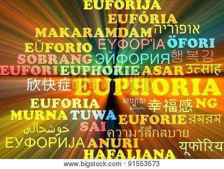 Background concept wordcloud multilanguage international many language illustration of euphoria glowing light