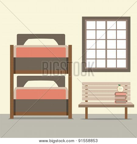 Bunk Bed With Wooden Chair.