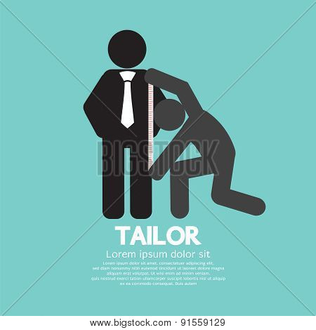 Customer Getting Measure By Tailor Symbol Vector Illustration. EPS 10 poster