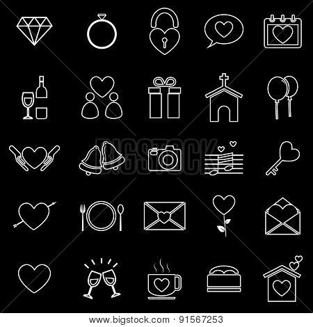 Wedding Line Icons On Black Background