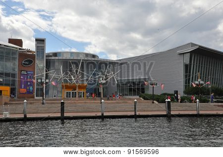BALTIMORE, MARYLAND - SEP 1: Maryland Science Center at the Inner Harbor in Baltimore, Maryland, on Sep 1, 2014. The Harbor is a historic seaport, tourist attraction and landmark.