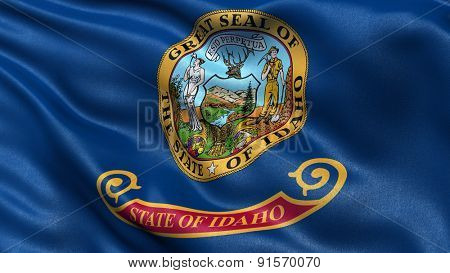 US state flag of Idaho with great detail waving in the wind.