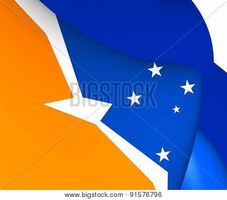 Flag Of Tierra Del Fuego, Argentina.