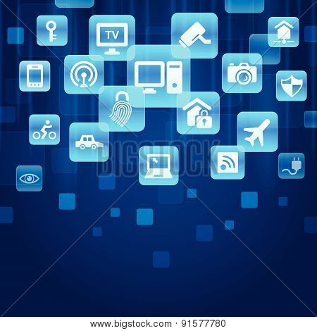 Internet of things concept - blue buttons with IOT and internet icon poster