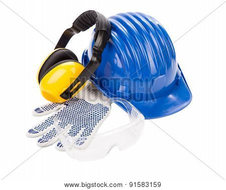 Hard hat ear muffs and glasses.