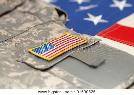 Usa Flag With Army Uniform Over It - Studio Shot