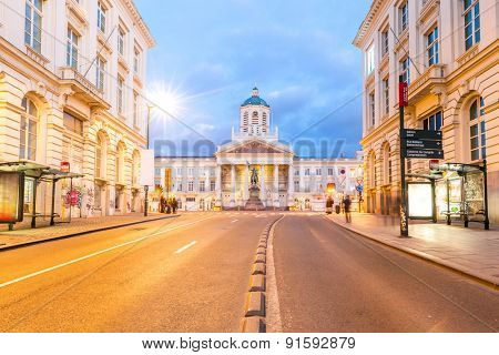 Brussels Royal Square with Palace Cathedral Chapelle Belgium poster