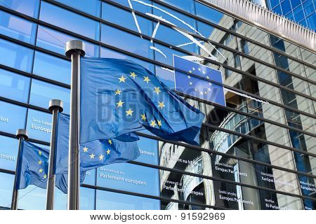 European Union flags in front of the European Parliament in Brussels, Belgium poster