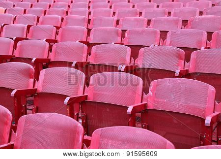 Red Chairs In The Stadium Before The Show