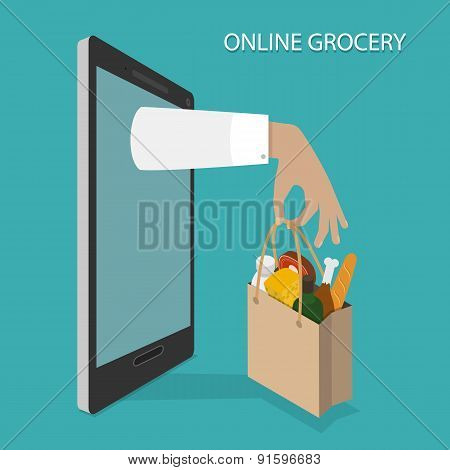 Online Grocery Ordering, Delivery Vector Concept.