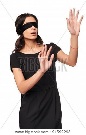 Businesswoman in blindfold
