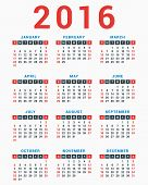 Calendar for 2016 on White Background. Week Starts Sunday. Simple Vector Template poster