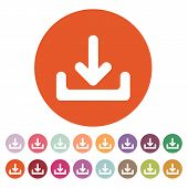 The download icon. Load symbol. Flat Vector illustration. Button Set poster