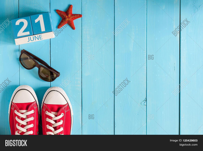 June 21st. Image Of June 21 Wooden Color Calendar On Blue Background. Summer  Day