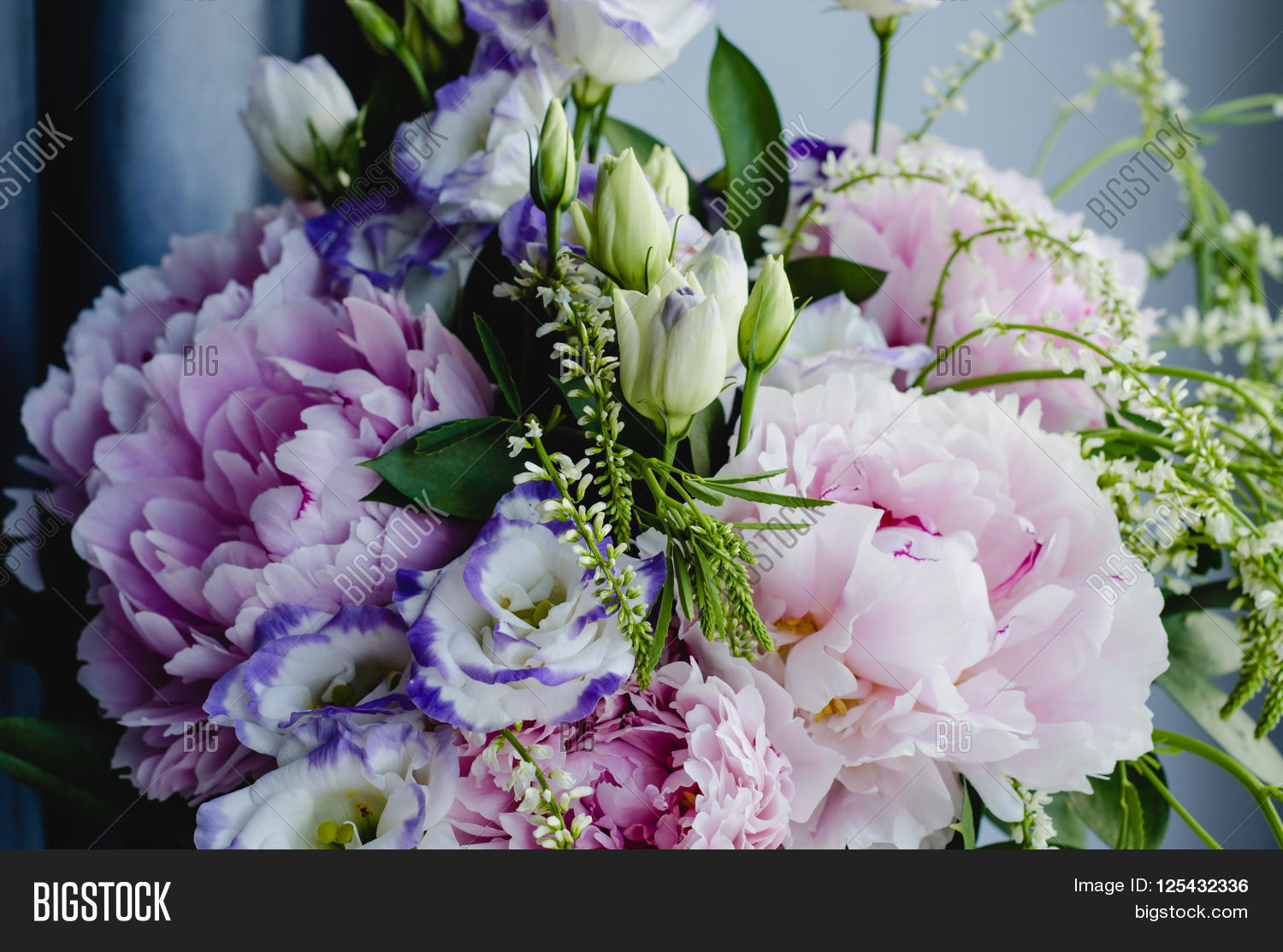 Rich Bunch Of Pink Peonies Peony And Lilac Eustoma Roses Flowers Rustic Style Still