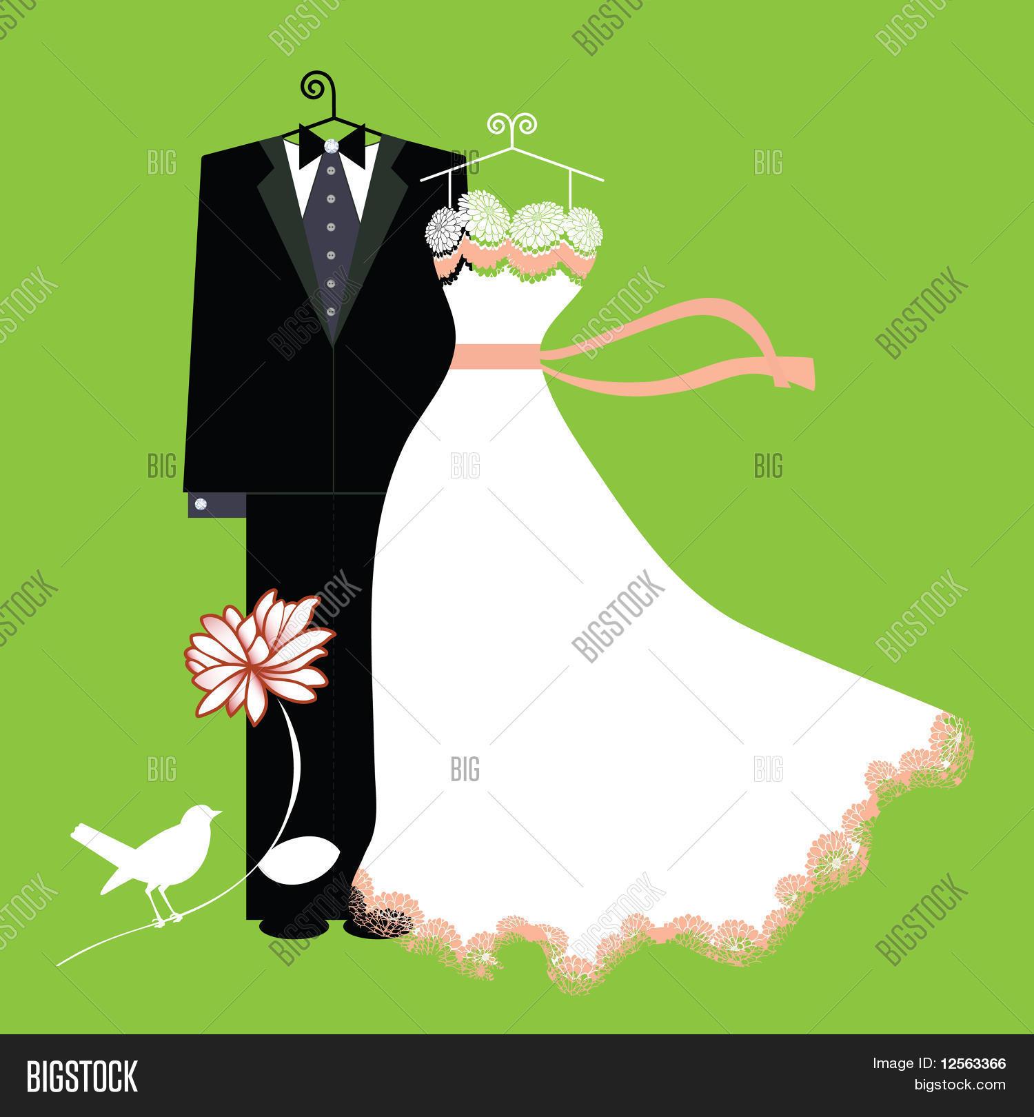 Vestidos de novia en vector gratis