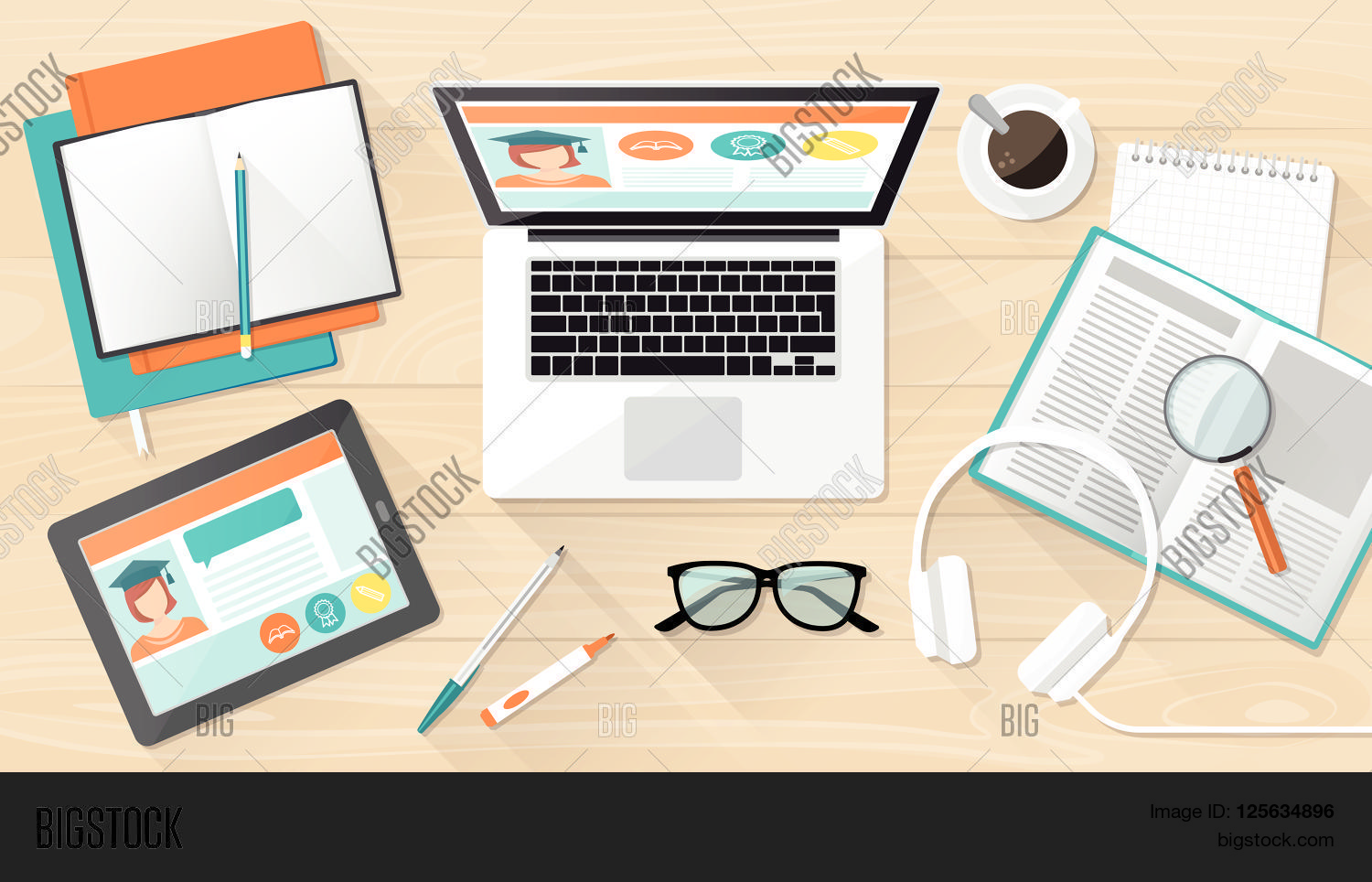 E Learning Education Vector Photo Free Trial Bigstock