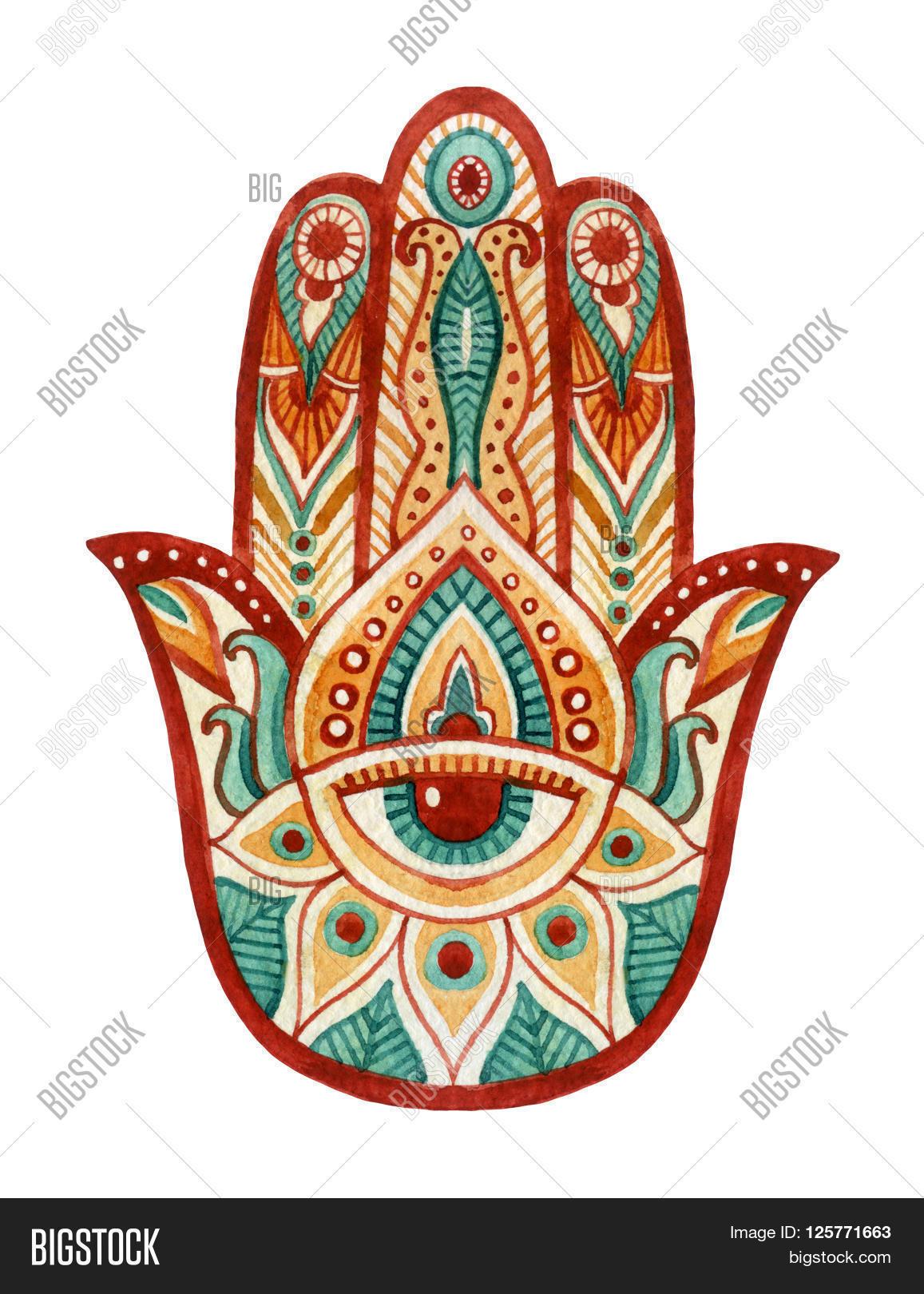 Hamsa Hand Watercolor Image Photo Free Trial Bigstock