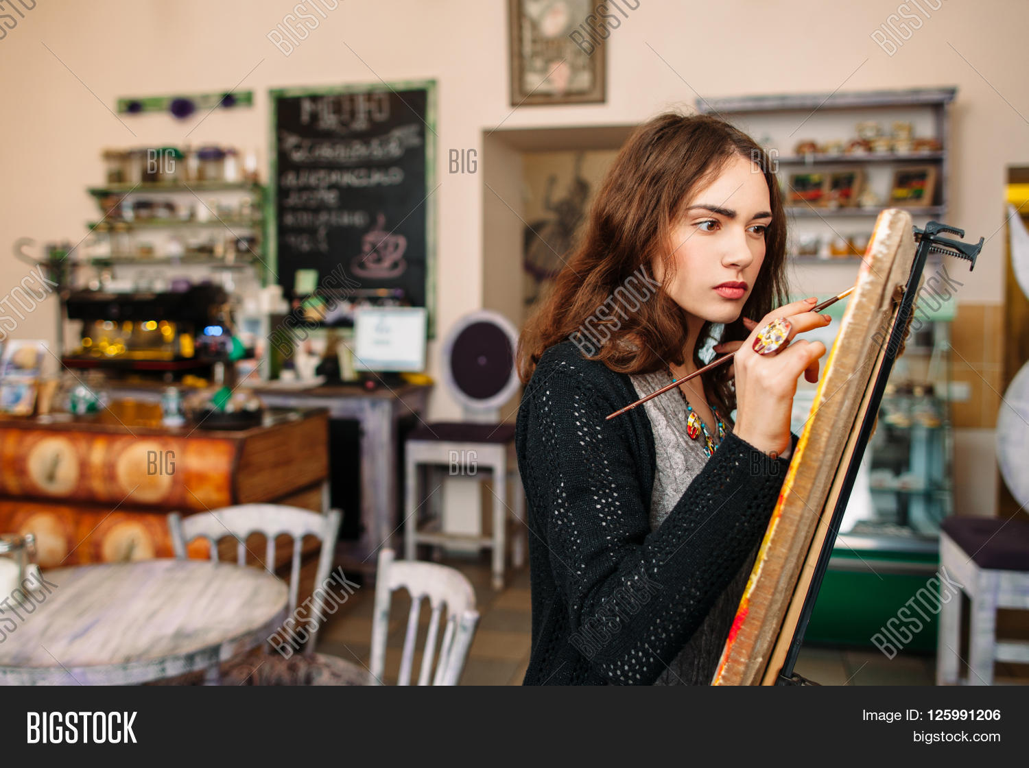 hipster artist paints image photo free trial bigstock