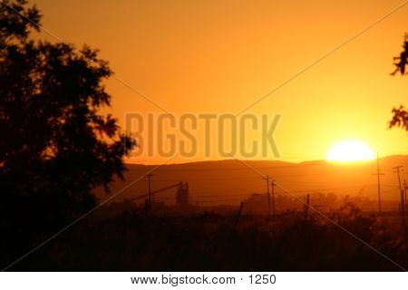 Beautiful warm country sunset poster