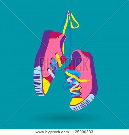 Colorful Sneaker Pair Hang On Lace Training Shoe Foot Wear Icon Vector Illustration