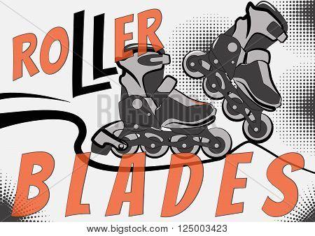 Illustration of roller skating - rollerblades. Roller blades card. Poster or banner. With halftone effect