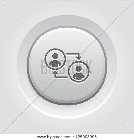 Retraining Icon. Business Concept. Grey Button Design