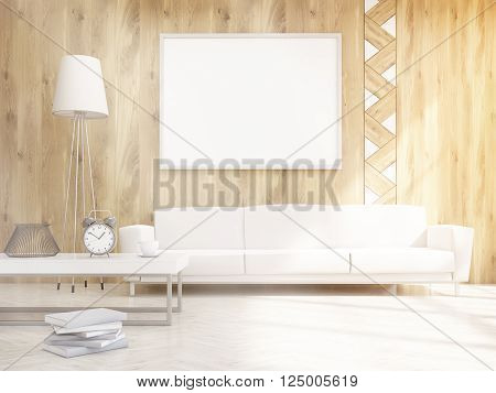 Living room interior design with sofa and blank picture frame. Toned image. Mock up 3D Rendering