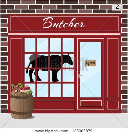 Butcher shop building. Cow sticker on window. Barrel with fresh slices of meat at the fore. Brown brick facade. Vector illustration EPS10.