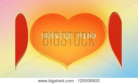 Beautiful Big Golden And Red Heart And Text Service Mind On Sweet Colourful Background