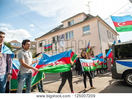 STRASBOURG FRANCE - APR 8 2016: Azerbaijani diaspora protest outside Azerbaijan Embassy against the 2013 clashes in Nagorny-Karabakh the region disputed by Armenia and Azerbaijan After