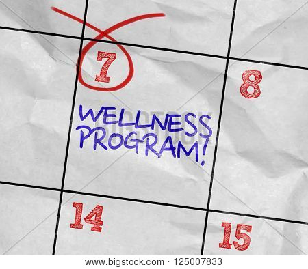 Concept image of a Calendar with the text: Wellness Program
