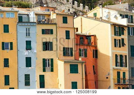 Detail of the tower houses in Portovenere or Porto Venere (UNESCO world heritage site). La Spezia, Liguria, Italy