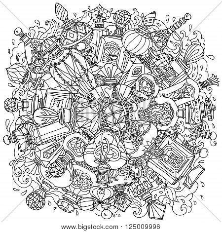 Mandala of fantasy vintage perfumes. mandala for adult coloring book in zenart or zentagle style. Hand-drawn, retro, doodle, vector, zentangle, tribal design colouring book elements.