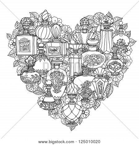 Black And White Fantasy Vintage Perfumes Pattern For Adult Coloring Book In Zenart Or Zentagle