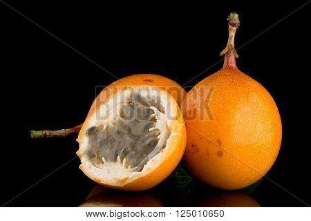 Passion fruit maracuja granadilla on white background.