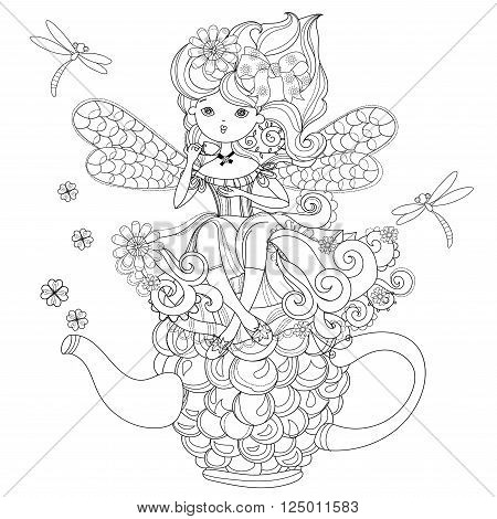 Vector cute fairy girl in flowers on raspberry teapot..Vector line illustration.Sketch for postcard or print or coloring adult book.Boho zentangle style doodle.