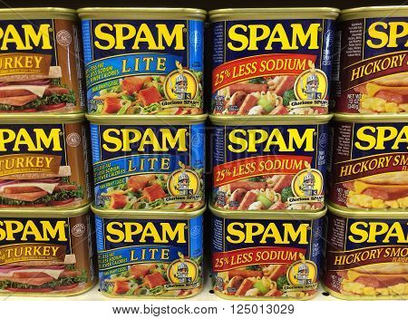 RIVER FALLS,WISCONSIN-APRIL 08,2016: Several varieties of Spam canned meat. Spam was introduced by Hormel in Nineteen Thirty Seven.