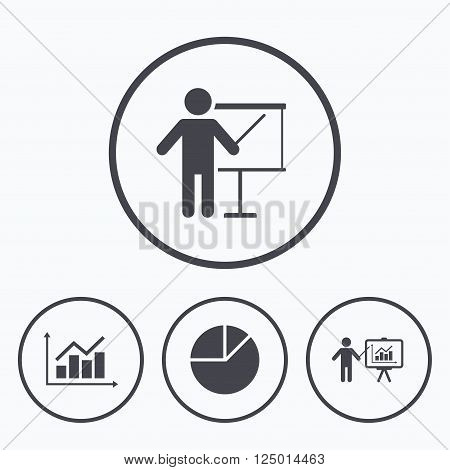 Diagram graph Pie chart icon. Presentation billboard symbol. Supply and demand. Man standing with pointer. Icons in circles. poster