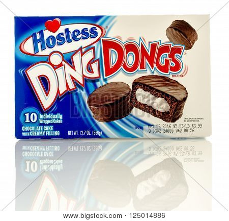 Winneconne, WI - 8 April 2016:  Box of Ding Dongs made by Hostess on an isolated background.