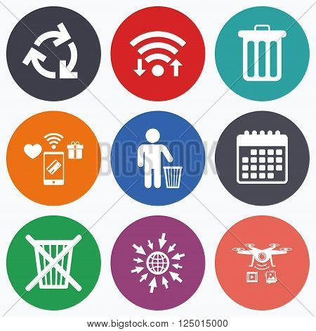 Wifi, mobile payments and drones icons. Recycle bin icons. Reuse or reduce symbols. Human throw in trash can. Recycling signs. Calendar symbol.