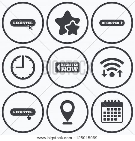 Clock, wifi and stars icons. Register with hand pointer icon. Mouse cursor symbol. Membership sign. Calendar symbol.