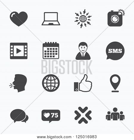 Calendar, go to web and like counter. Social media icons. Video, share and chat signs. Human, photo camera and like symbols. Sms speech bubble, talk symbols.